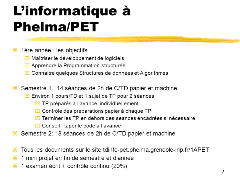 L'informatique à Phelma/PET