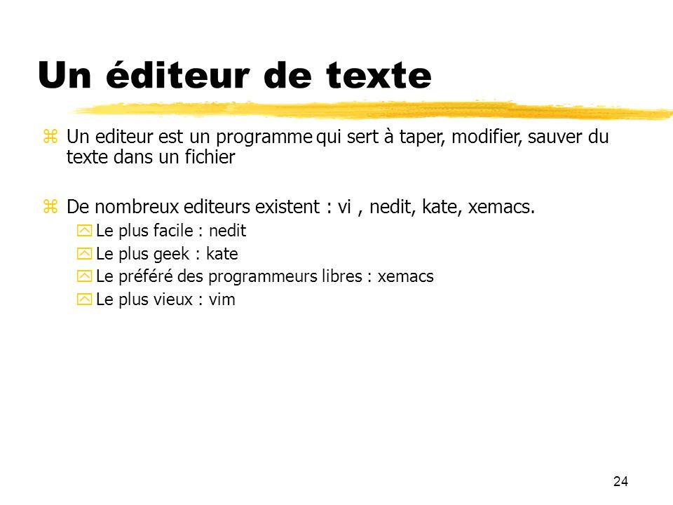 Un éditeur de texte Un editeur est un programme qui sert à taper, modifier, sauver du texte dans un fichier.
