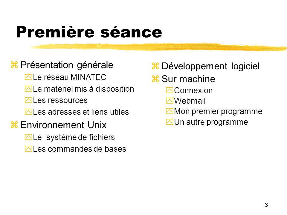 Première séance Présentation générale Développement logiciel