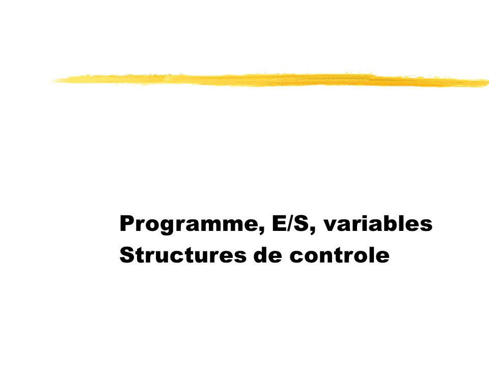 Programme, E/S, variables