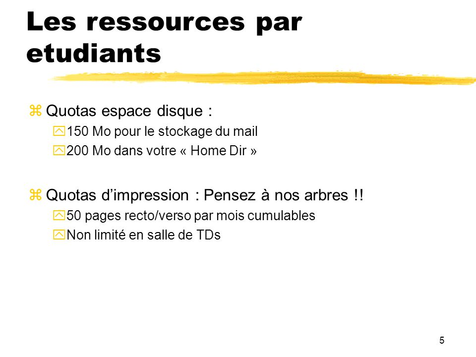Les ressources par etudiants