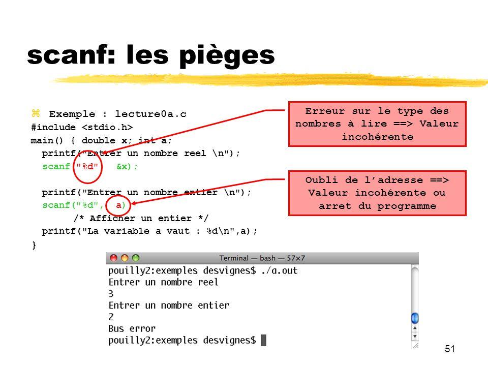 scanf: les pièges Erreur sur le type des nombres à lire ==> Valeur incohérente. Exemple : lecture0a.c.
