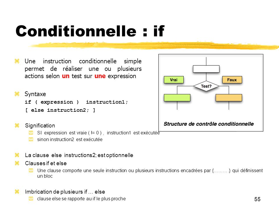 Conditionnelle : if Une instruction conditionnelle simple permet de réaliser une ou plusieurs actions selon un test sur une expression.