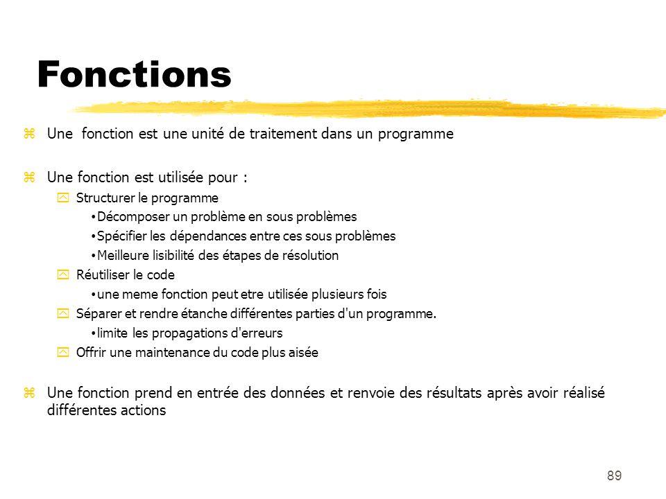 Fonctions Une fonction est une unité de traitement dans un programme