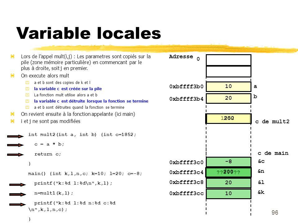 Variable locales Adresse 0xbffff3b0 a b 0xbffff3b4 20 10 1852 200