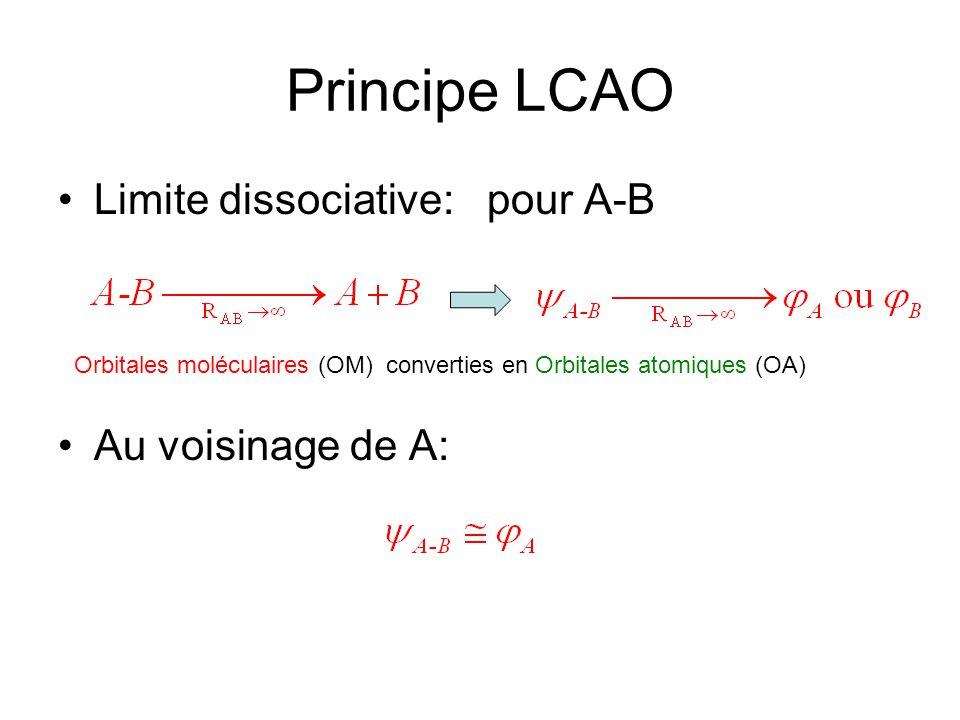 Principe LCAO Limite dissociative: pour A-B Au voisinage de A: