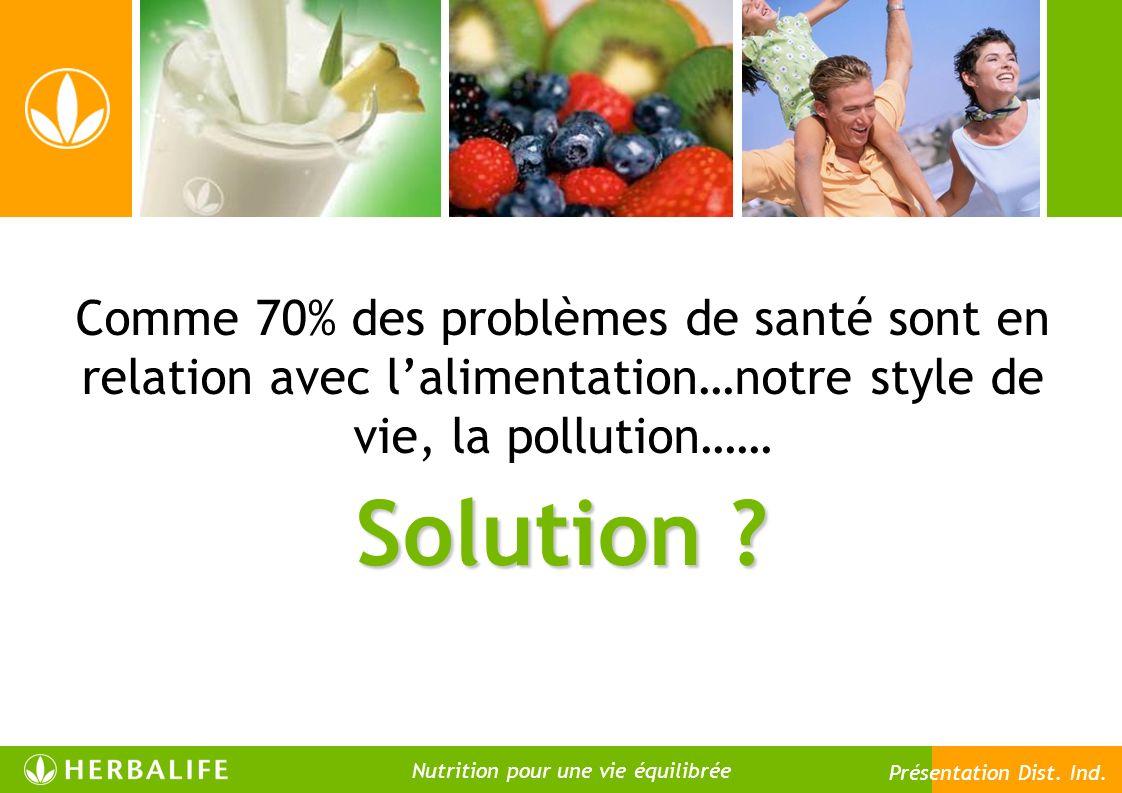 Comme 70% des problèmes de santé sont en relation avec l'alimentation…notre style de vie, la pollution……