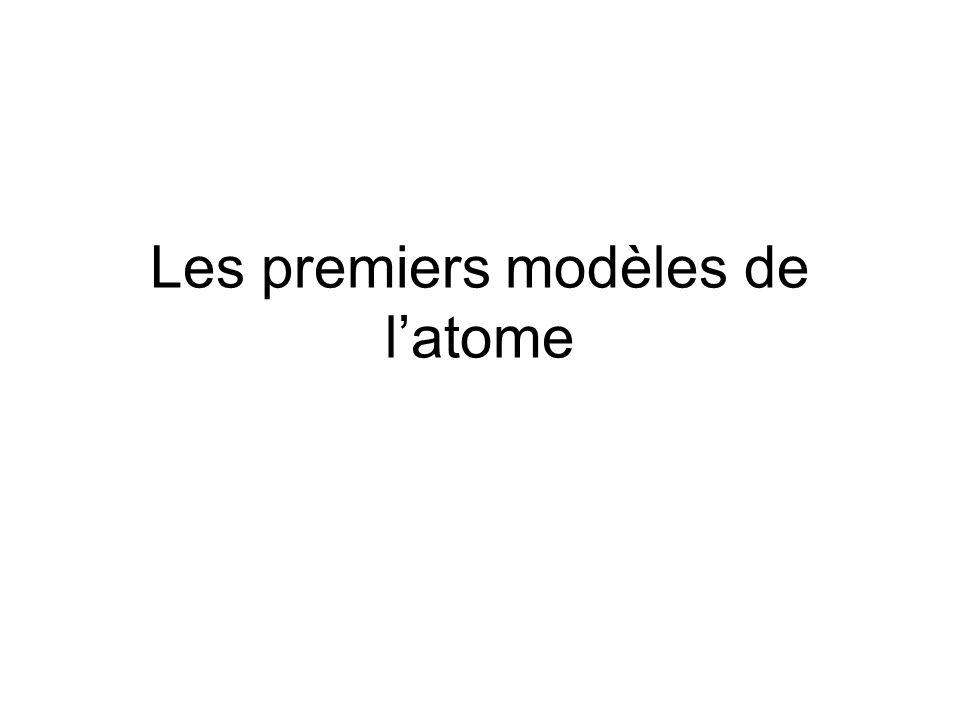 Les premiers modèles de l'atome