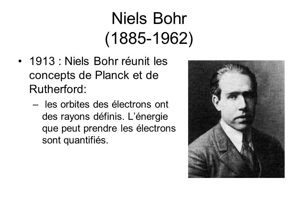 Niels Bohr (1885-1962) 1913 : Niels Bohr réunit les concepts de Planck et de Rutherford: