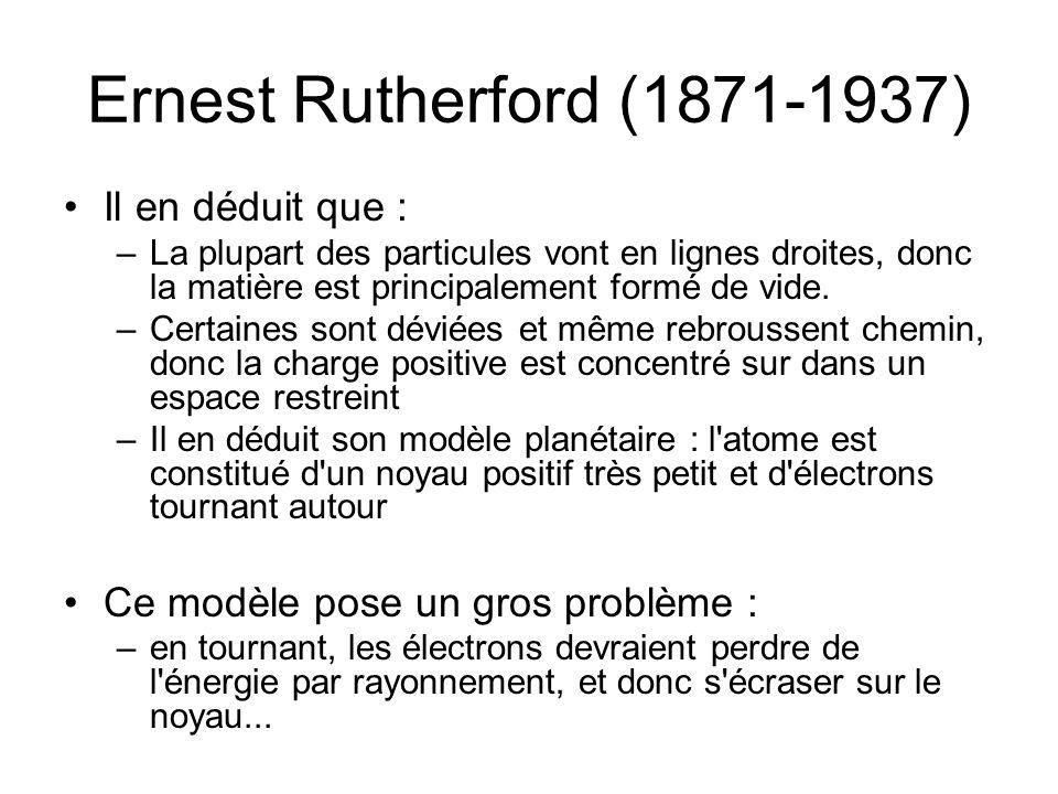 Ernest Rutherford (1871-1937) Il en déduit que :