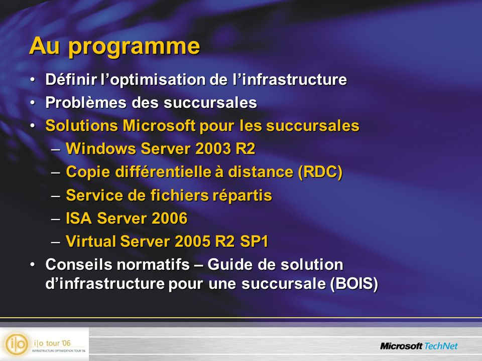 Au programme Définir l'optimisation de l'infrastructure