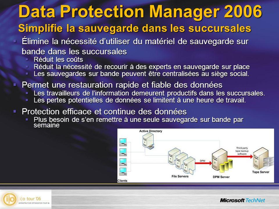 Data Protection Manager 2006 Simplifie la sauvegarde dans les succursales