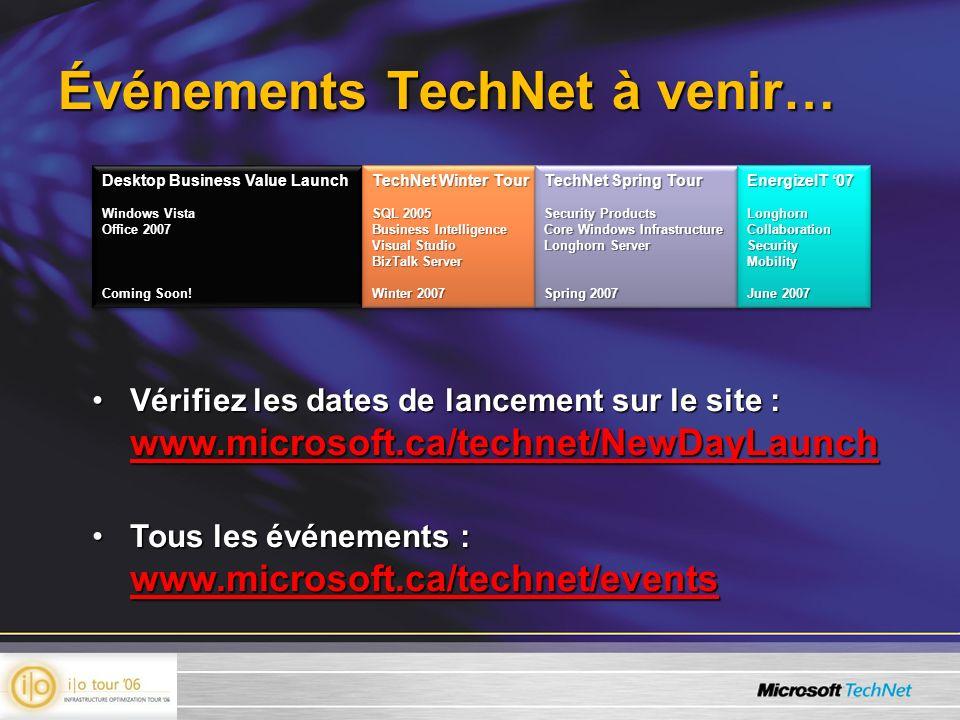 Événements TechNet à venir…
