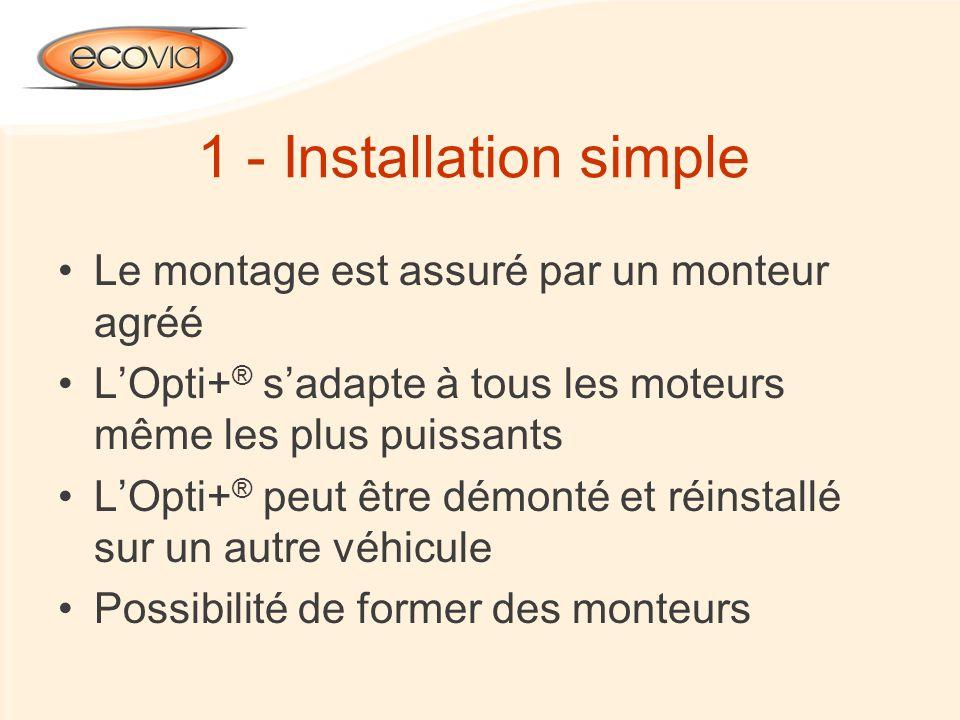 1 - Installation simple Le montage est assuré par un monteur agréé