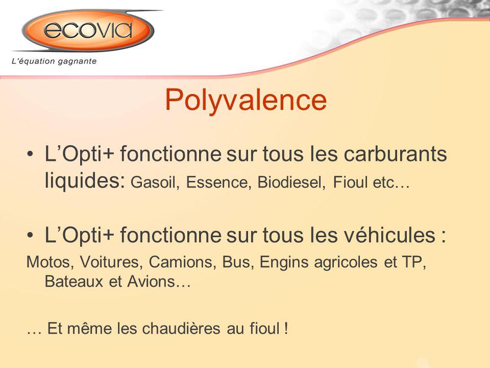 Polyvalence L'Opti+ fonctionne sur tous les carburants liquides: Gasoil, Essence, Biodiesel, Fioul etc…