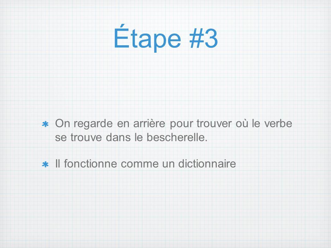 Étape #3On regarde en arrière pour trouver où le verbe se trouve dans le bescherelle.