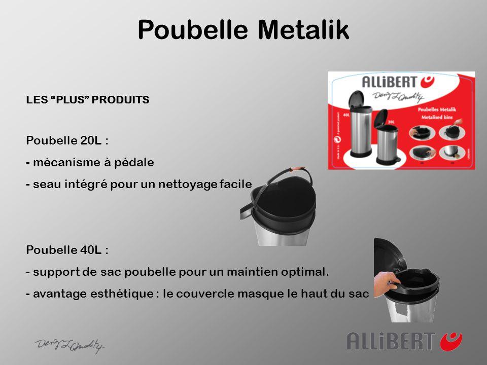Poubelle Metalik Poubelle 20L : - mécanisme à pédale