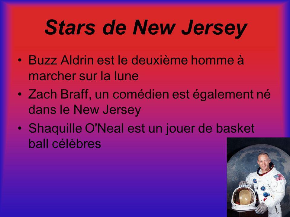 Stars de New Jersey Buzz Aldrin est le deuxième homme à marcher sur la lune. Zach Braff, un comédien est également né dans le New Jersey.