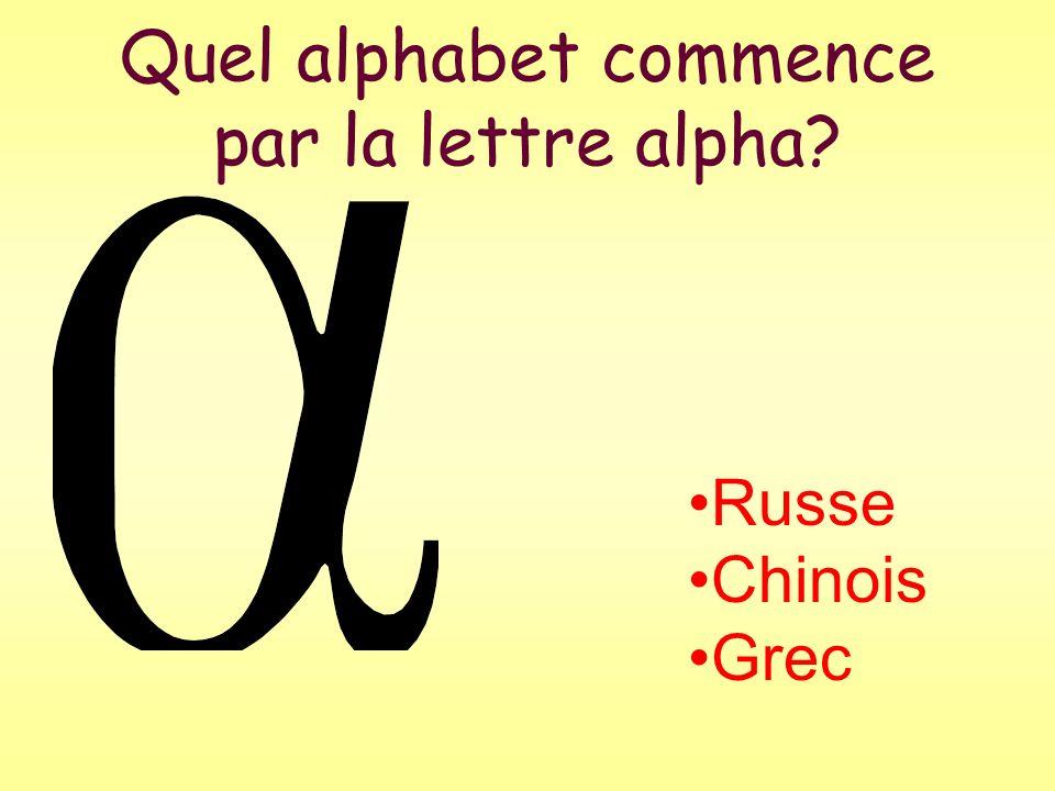 Quel alphabet commence par la lettre alpha
