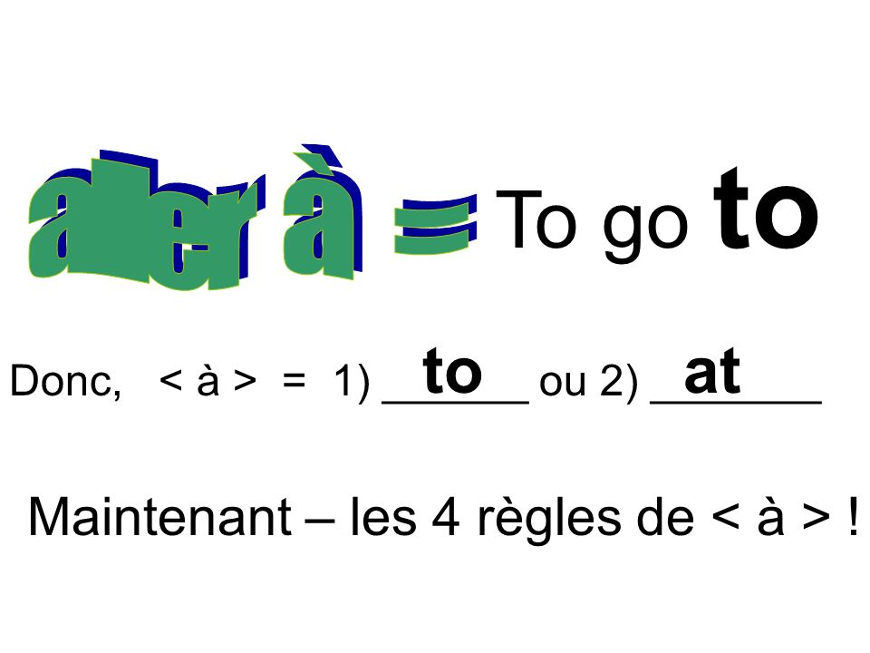 To go to to at Maintenant – les 4 règles de < à > ! aller à =