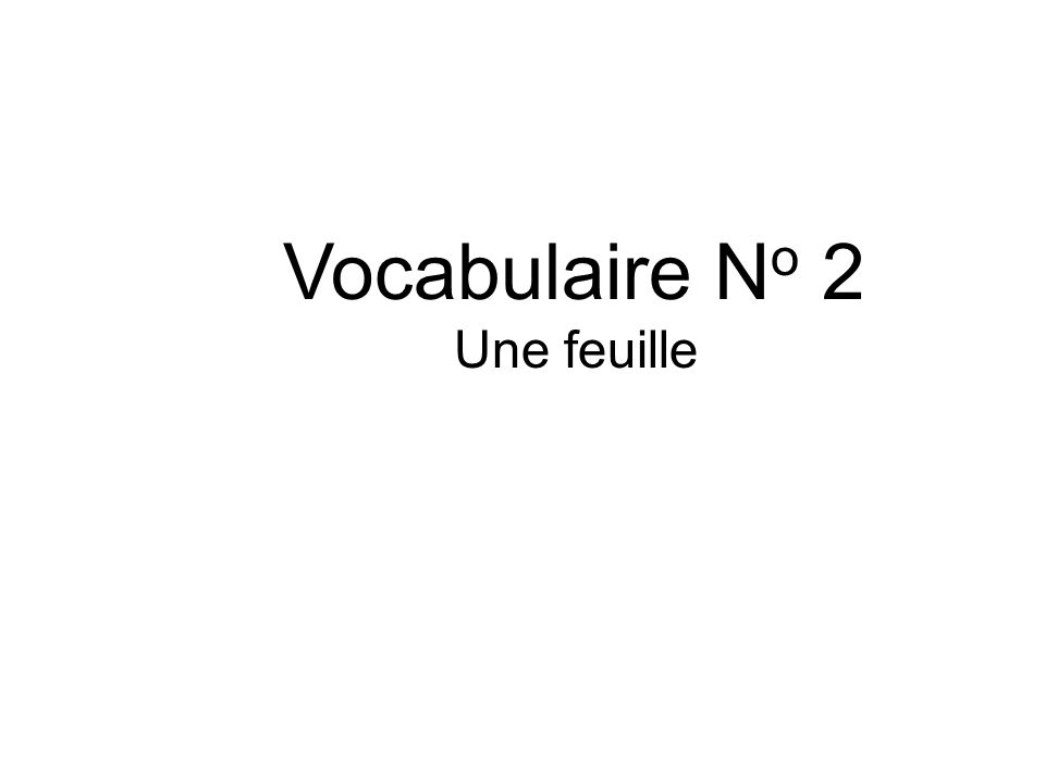 Vocabulaire No 2 Une feuille
