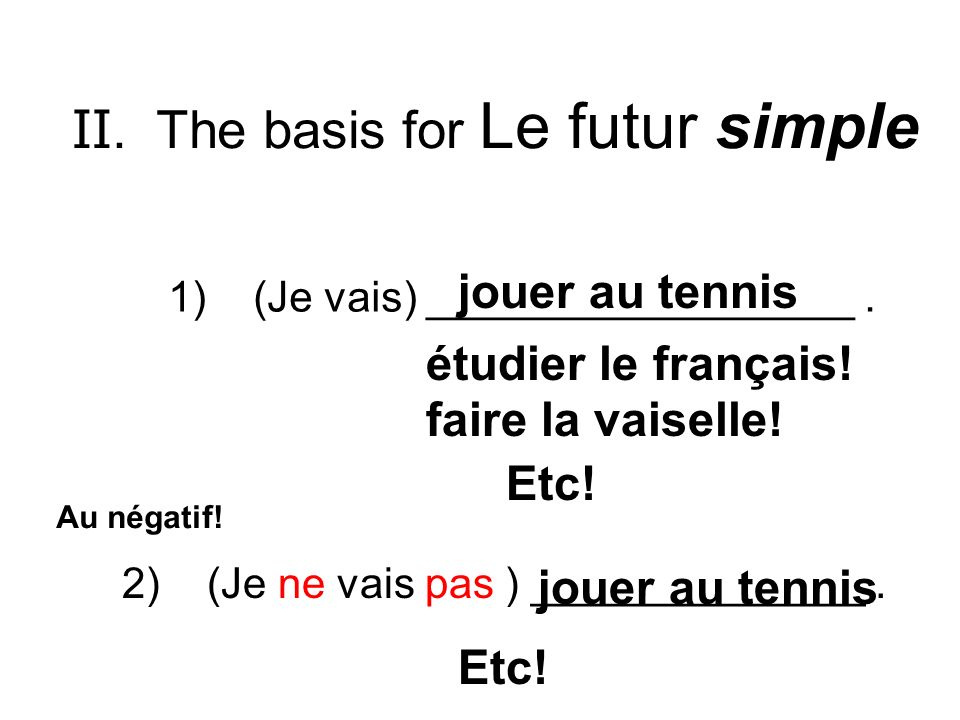 II. The basis for Le futur simple