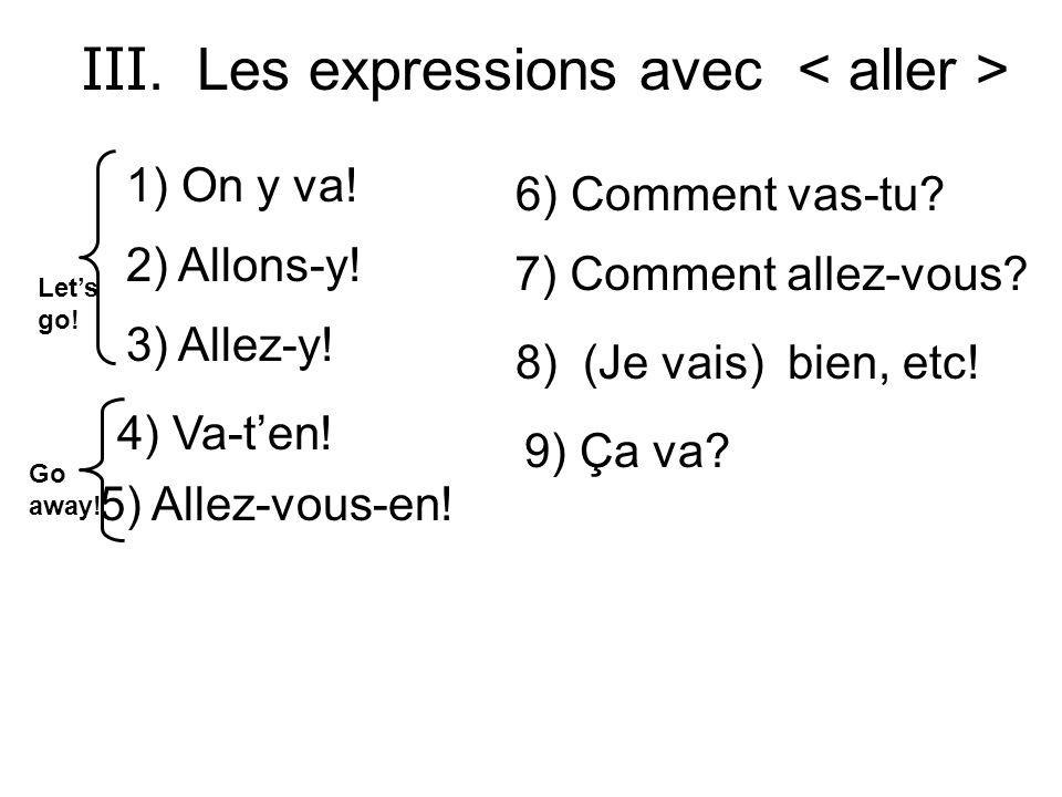 III. Les expressions avec < aller >