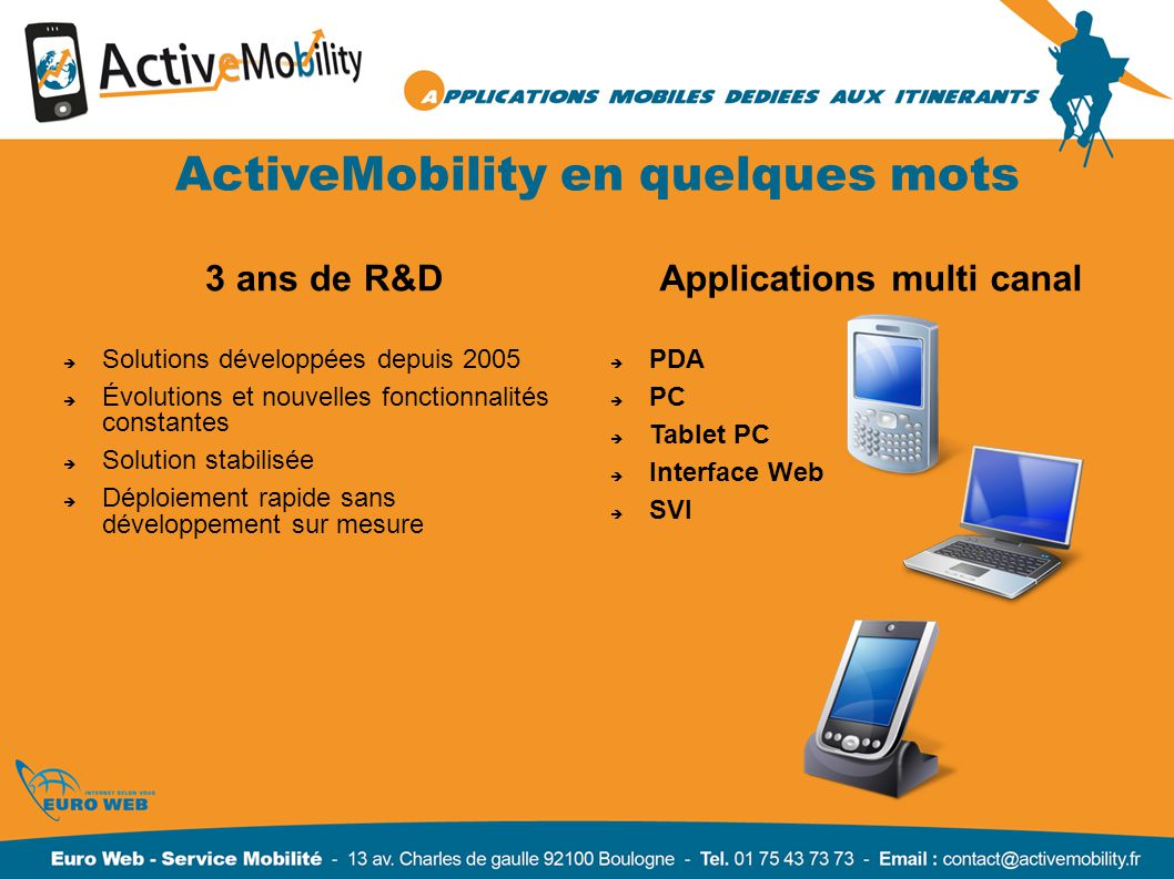 ActiveMobility en quelques mots Applications multi canal