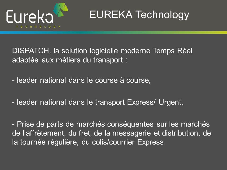 EUREKA Technology DISPATCH, la solution logicielle moderne Temps Réel adaptée aux métiers du transport :