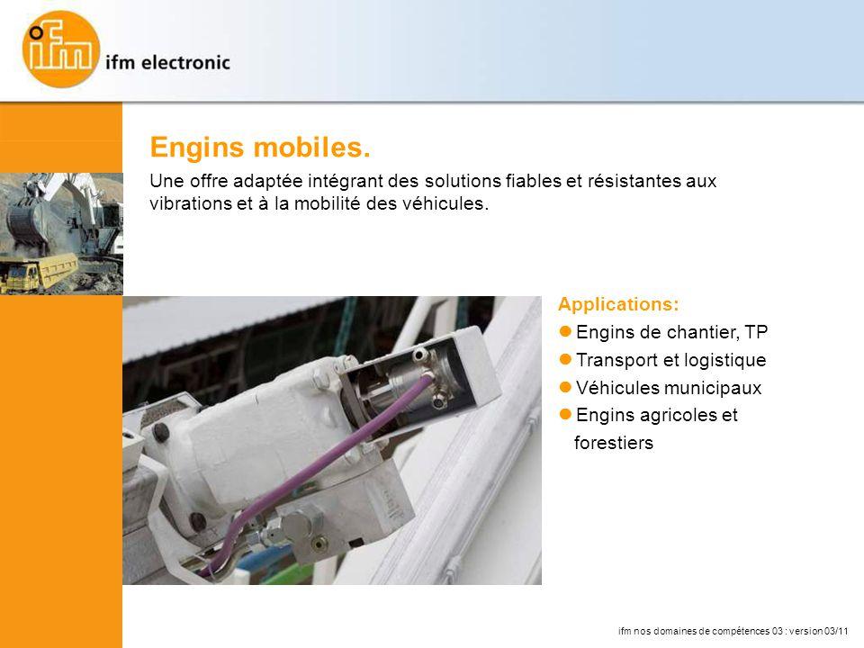 Engins mobiles. Une offre adaptée intégrant des solutions fiables et résistantes aux vibrations et à la mobilité des véhicules.