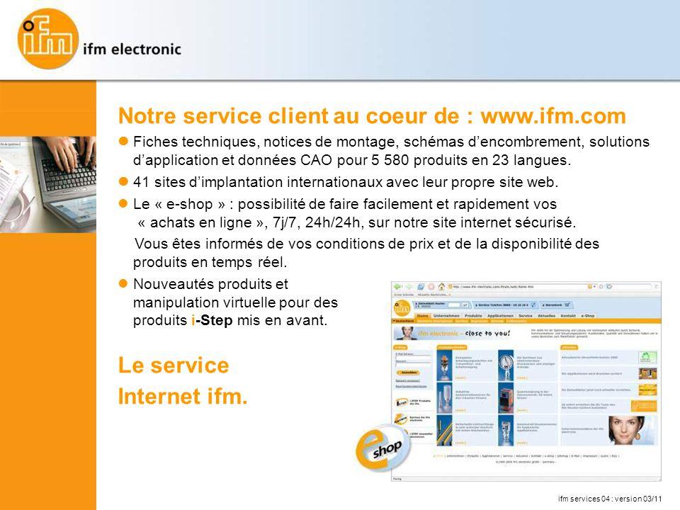 Notre service client au coeur de : www.ifm.com