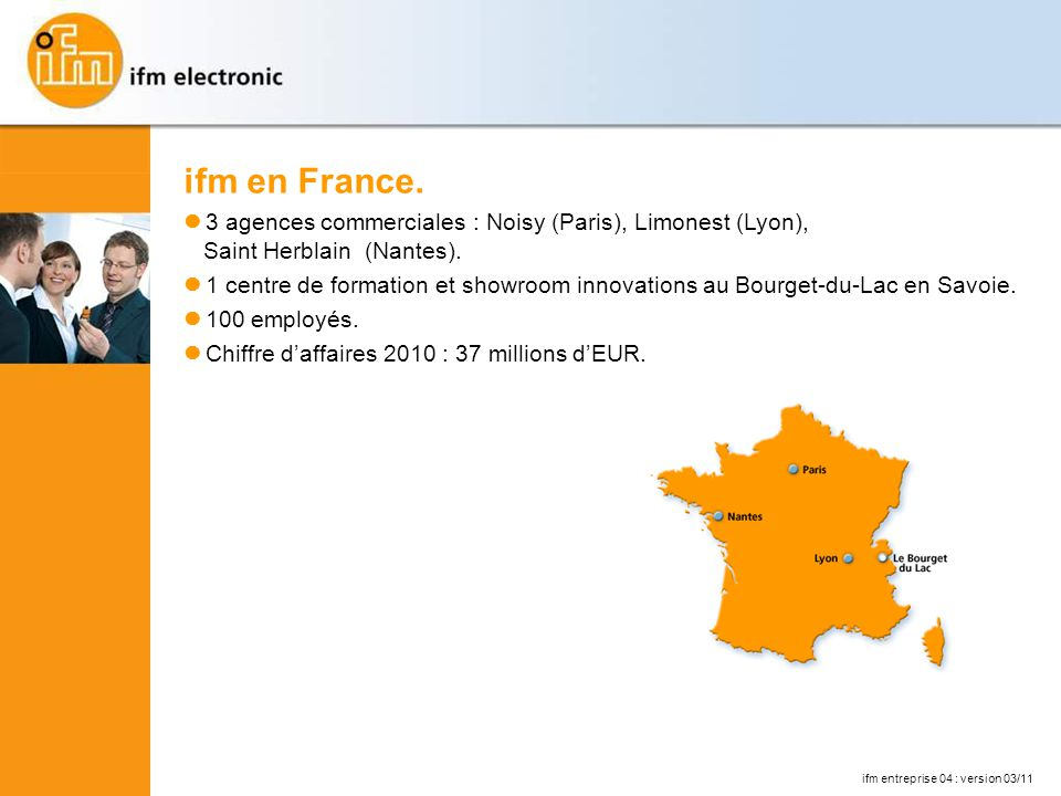 ifm en France. l 3 agences commerciales : Noisy (Paris), Limonest (Lyon), Saint Herblain (Nantes).