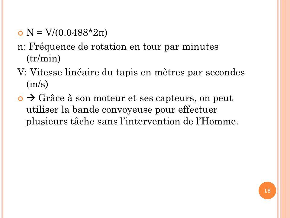 N = V/(0.0488*2π) n: Fréquence de rotation en tour par minutes (tr/min) V: Vitesse linéaire du tapis en mètres par secondes (m/s)