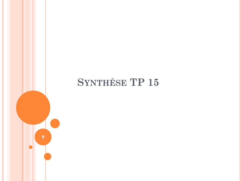 Synthèse TP 15