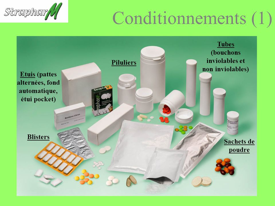 Conditionnements (1) Tubes (bouchons inviolables et non inviolables)