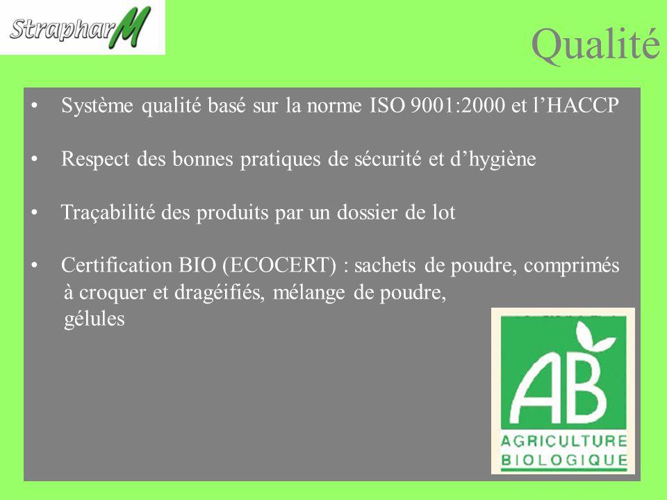 Qualité Système qualité basé sur la norme ISO 9001:2000 et l'HACCP
