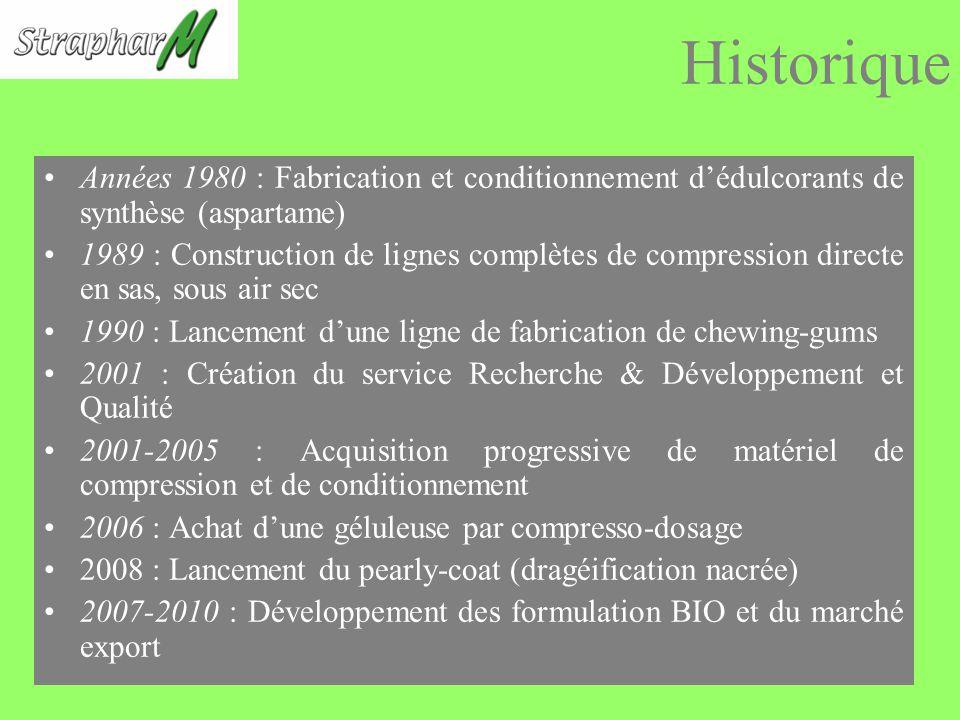 Historique Années 1980 : Fabrication et conditionnement d'édulcorants de synthèse (aspartame)