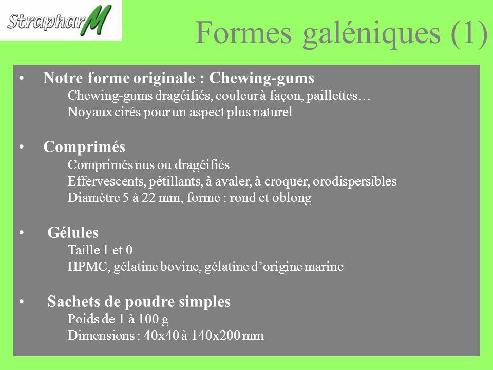 Formes galéniques (1) Notre forme originale : Chewing-gums Comprimés