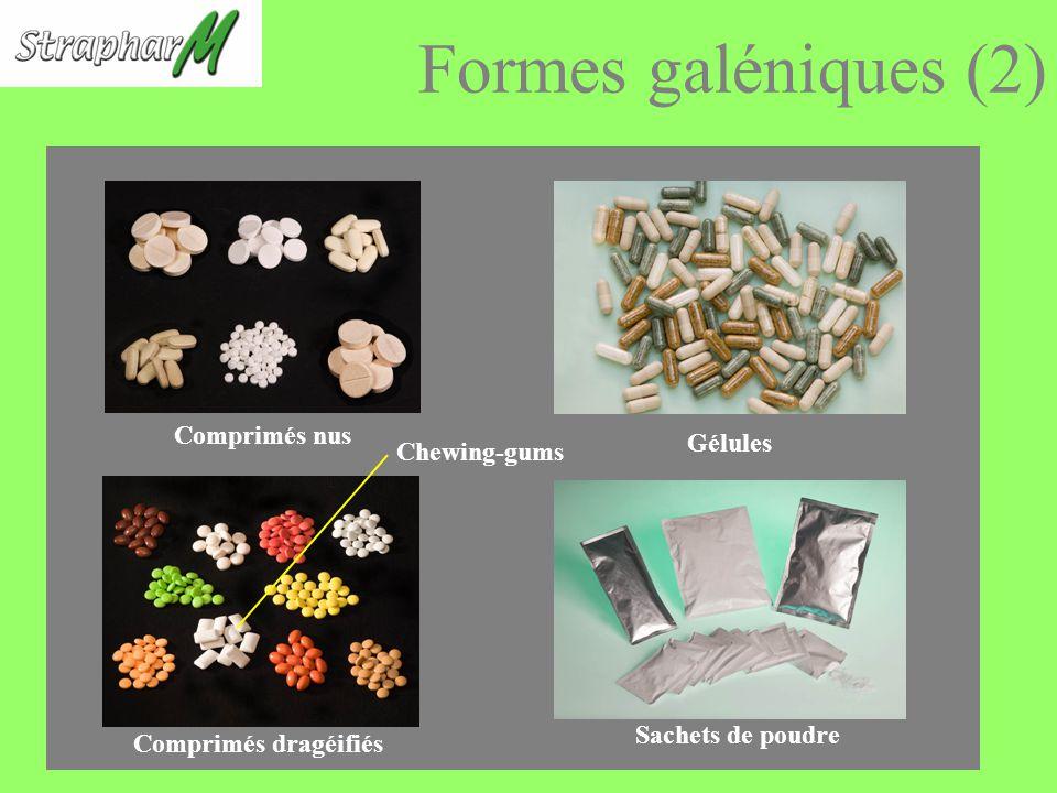 Formes galéniques (2) Comprimés nus Gélules Chewing-gums