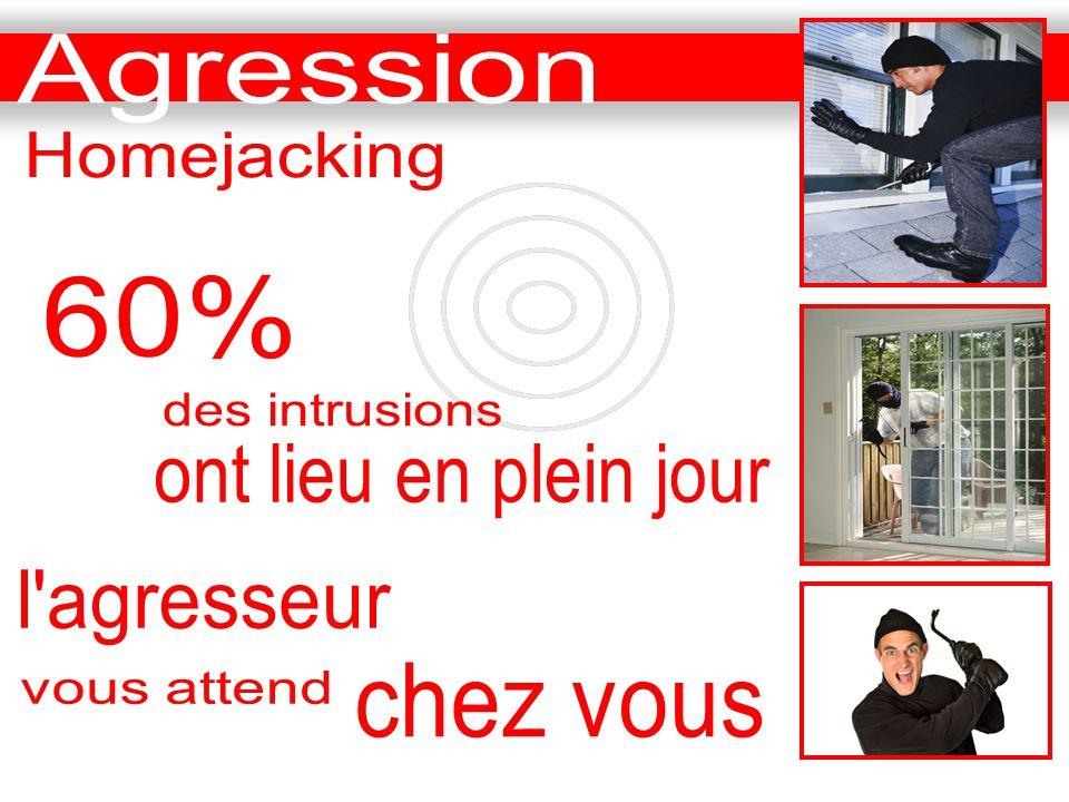 Agression Homejacking 60% des intrusions ont lieu en plein jour l agresseur chez vous vous attend