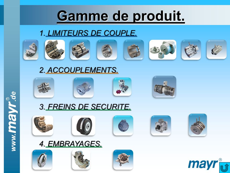 Gamme de produit. LIMITEURS DE COUPLE. ACCOUPLEMENTS.