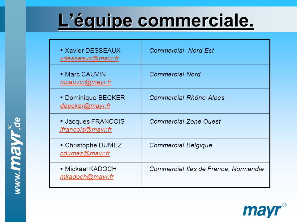 L'équipe commerciale. Xavier DESSEAUX Commercial Nord Est xdesseaux@mayr.fr. Marc CAUVIN Commercial Nord mcauvin@mayr.fr.