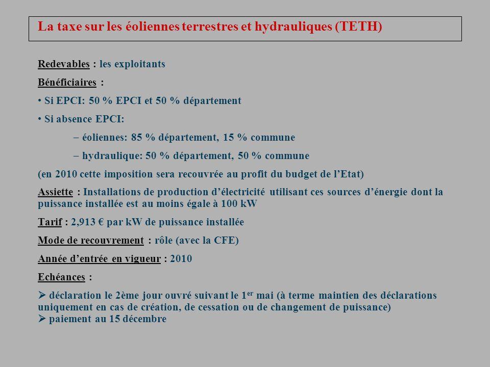 La taxe sur les éoliennes terrestres et hydrauliques (TETH)