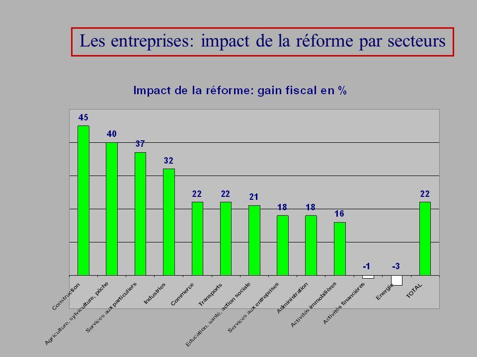 Les entreprises: impact de la réforme par secteurs