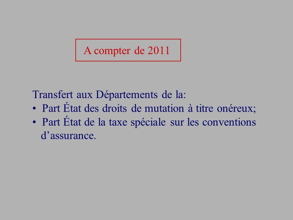 A compter de 2011 Transfert aux Départements de la: Part État des droits de mutation à titre onéreux;