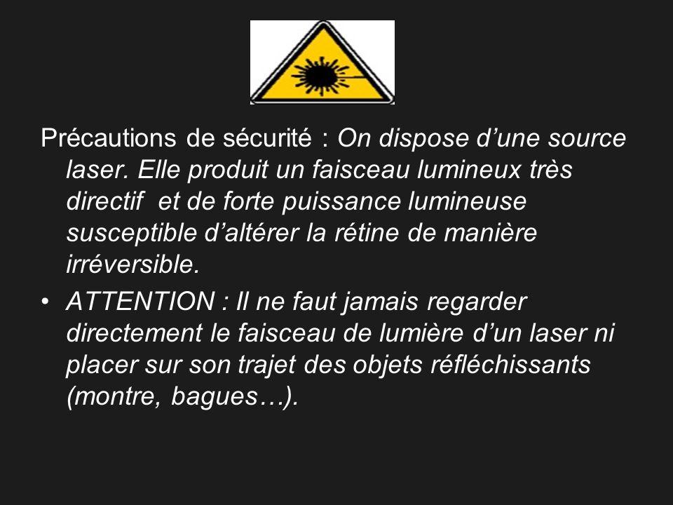 Précautions de sécurité : On dispose d'une source laser