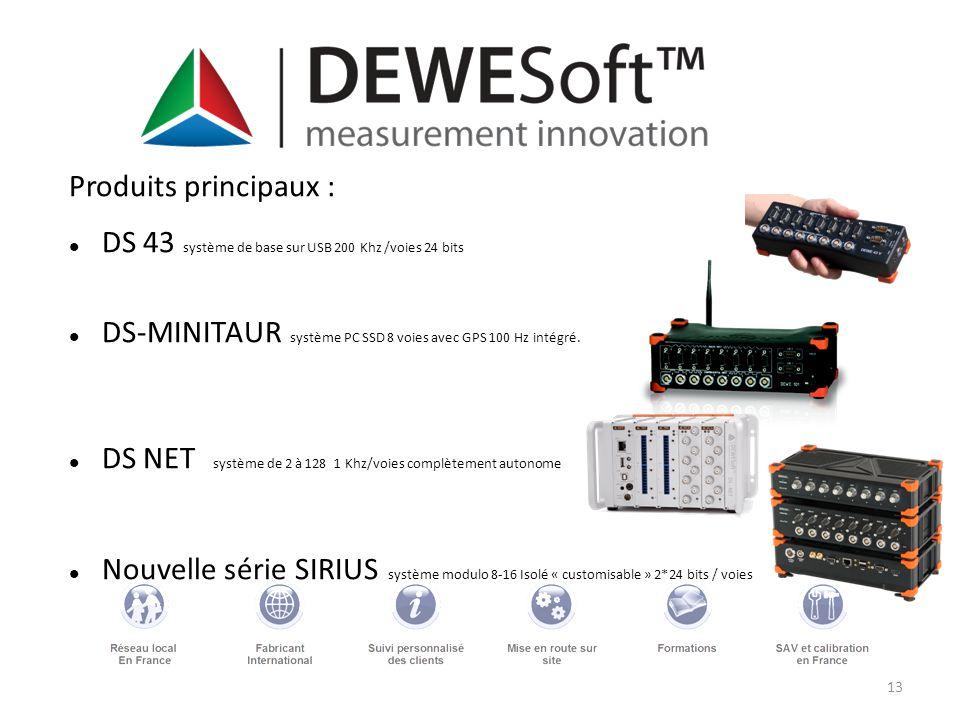 Produits principaux : DS 43 système de base sur USB 200 Khz /voies 24 bits. DS-MINITAUR système PC SSD 8 voies avec GPS 100 Hz intégré.