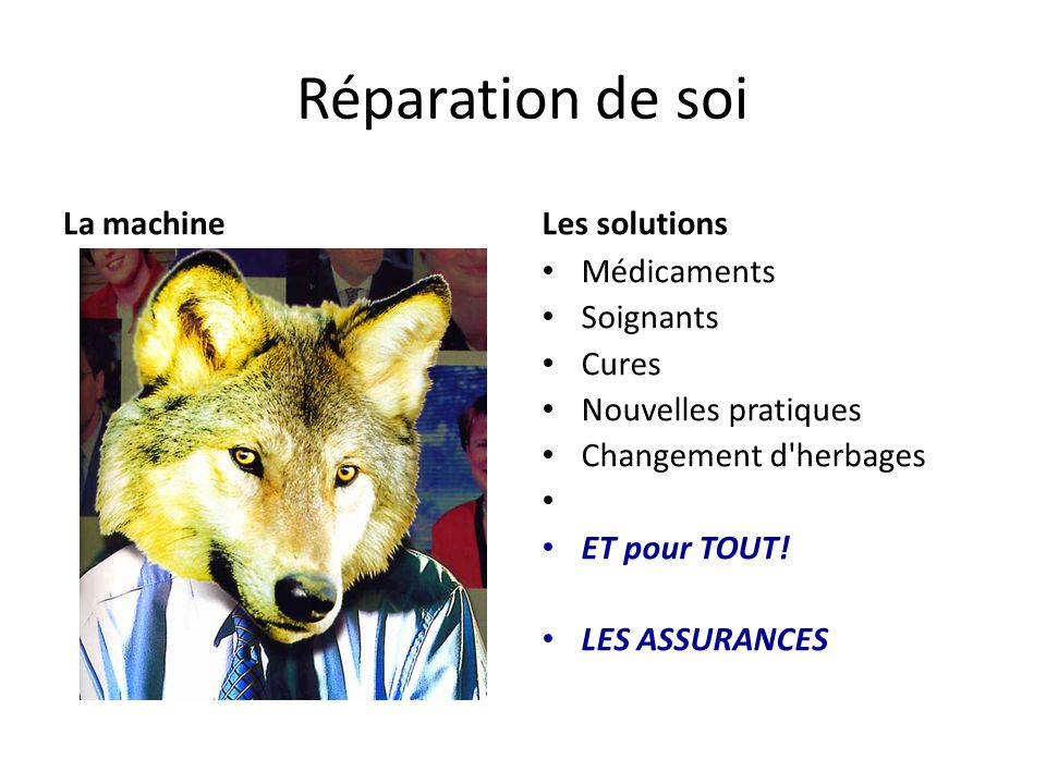 Réparation de soi La machine Les solutions Médicaments Soignants Cures