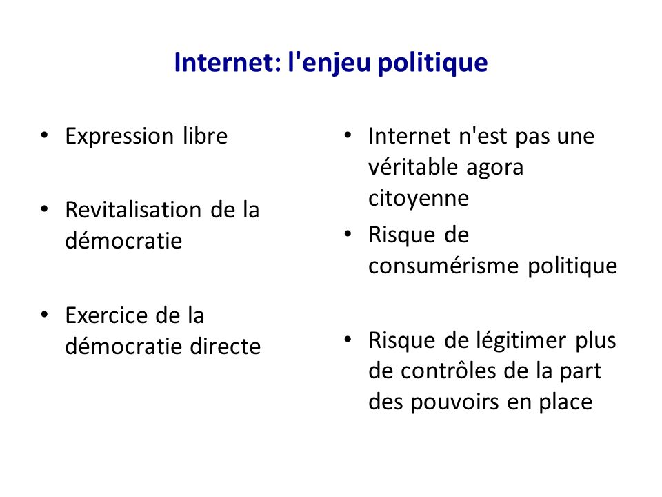 Internet: l enjeu politique