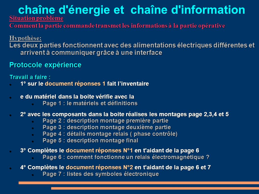 chaîne d énergie et chaîne d information